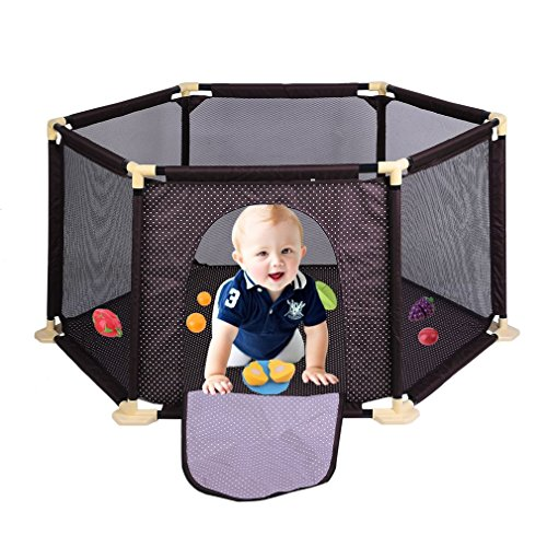 Homgrace PlaySafe Playard Baby Safety Crawling Guardrail Surround 6-Panel for Toddlers Indoor and Outdoor (Coffee)