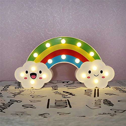 CSKB LED Rainbow Colorful Night Light Marquee Sign for Bedside,Perfect Kids Room Lighting - Rroom Decor Light for Kids Baby Home Decorations ()