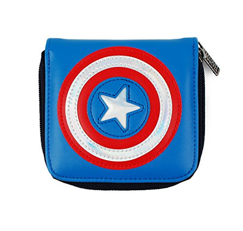 MARVEL Captain America Shield Simple Zippered Wallet for Card Coin Holder Organizer by DisneyBagStore
