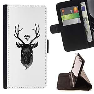- deer diamond white black antlers - - Prima caja de la PU billetera de cuero con ranuras para tarjetas, efectivo desmontable correa para l Funny HouseFOR Sony Xperia Z2 D6502