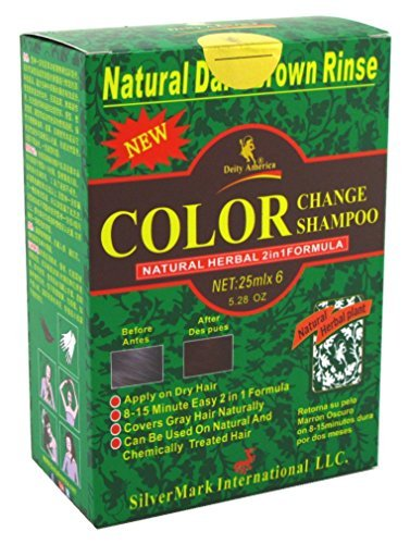 Deity America Natural Herbal 2in1 Formula Color Change Shampoo, Dark Brown Rinse 6 ea (Pack of 3) by Deity