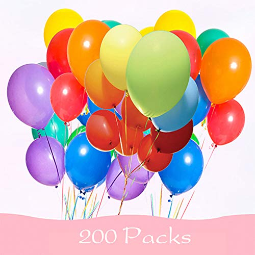 200 Pieces Assorted Colored Balloons Bulk ,8 Inches Latex Helium Balloons for Birthday Party Decorations Wedding Decorations Arch Supplies