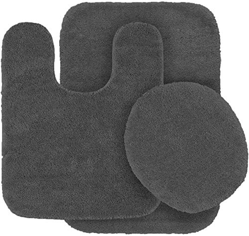 Mk Home 3pc Absorbent Bath Mat Set Solid Charcoal/Dark Grey with Bath Rug, Contour Mat and Toilet Seat Lid Cover Non…