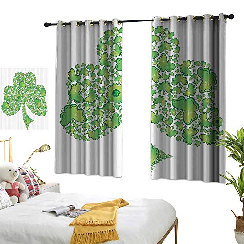 Trinity Patterns (Light Luxury high-end Curtains Celtic Decor Collection Irish Shamrock Figure Made with Small Clover Patterns Holy Trinity Symbol Graphic Work Darkening and Thermal Insulating 72