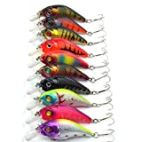 Aorace 10pcs/lot Minnow Fishing Lure Crank Bait Hooks Bass Crankbait Tackle ...