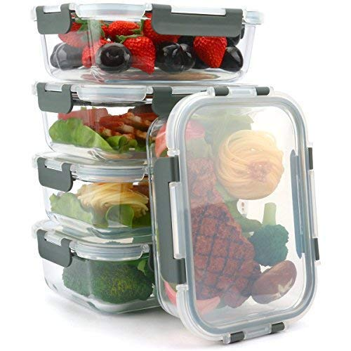 [5-Packs, 36 Oz.] Glass Meal Prep Containers with Lifetime Lasting Snap Locking Lids Glass Food Containers,Airtight Lunch Container,Microwave, Oven, Freezer and Dishwasher Safe(4.5 Cup) by Mcirco (Image #4)