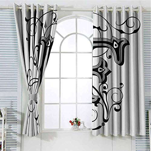 Jinguizi Grommet Window Curtain Kitchen Curtain Letter F,Gothic Fashioned F Large Letters with Swirling Vintage Floral Blooms Image,Black Grey White Small Window Curtain 108 x 72 inch (Shower Curtain With Letter F)