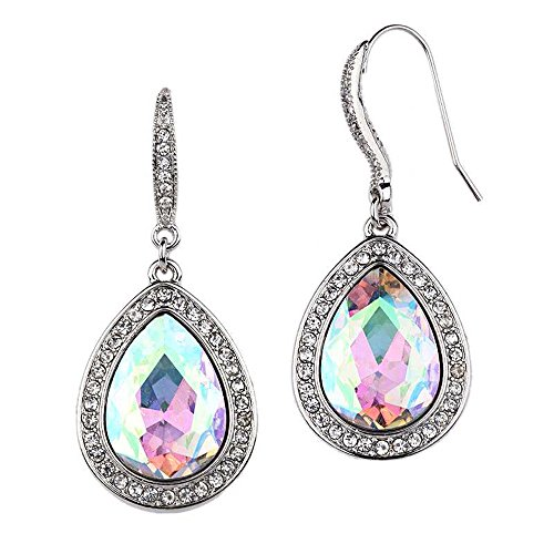 Mariell Pear-Shaped Dangle Aurora Borealis Crystal Earrings for Prom, Bridesmaids and Wedding Party ()