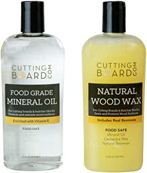 Food Grade Mineral Oil and Wax for Cutting Boards, Butcher Blocks and Countertops, Set of 2