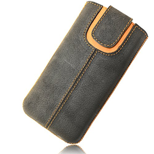 OrLine Etui Case Lederetui für Apple Iphone 5 Echt Leder Case Ledertasche Tasche Lederetui mit Magnetverschluss in der Farbe anthrazit/orange Handarbeit