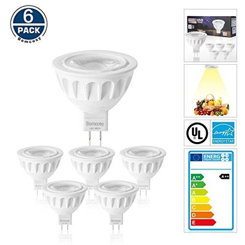 Bomcosy 5W MR16 GU5.3 LED Bulbs, 12V LED Light Bulb, 50W Halogen Spotlight Equivalent, Warm White 3000K LED Spot Light Bulbs, 425Lumens, 35 Degree Beam Angle, Non-Dimmable, Pack of 6 (12v Mr16 Spot)