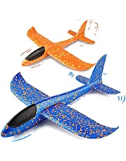 2pcs 36cm Throwing Foam Airplane for Kids, Aeroplane Toys, Hand Launch Glider Plane Inertia Aircraft, Outdoor Sport Game, Blue and Orange
