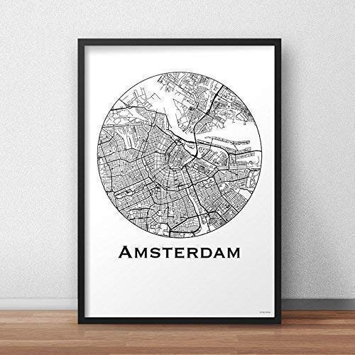 Plakat Amsterdam Niederlande Minimalist Map - Poster, City ...