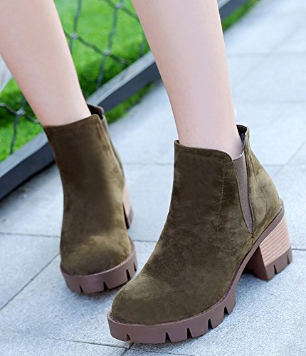 IDIFU Womens Retro Platform Mid Chunky Heels Faux Suede Slip On Short Ankle Booties Green efBUufZG0Z