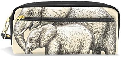 coosun gravieren Elefantes Mamá y bebé Amor Portable de PU piel estuche lápiz escuela bolsillos estacionario Pouch Caso Gran Capacidad De Maquillaje Neceser: Amazon.es: Oficina y papelería