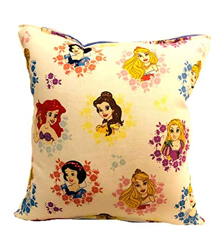 Princess Pillow Ariel Snow White Belle Disney Princesses Florial Pillow 10 inches by 11 inches Handmade Hypoallergenic Cotton with Flannel Backing Ideal for Gift and Multiple Uses