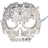 Skull Face Masquerade Masks Mardi Gras Party Mask with Rhinestones (White)