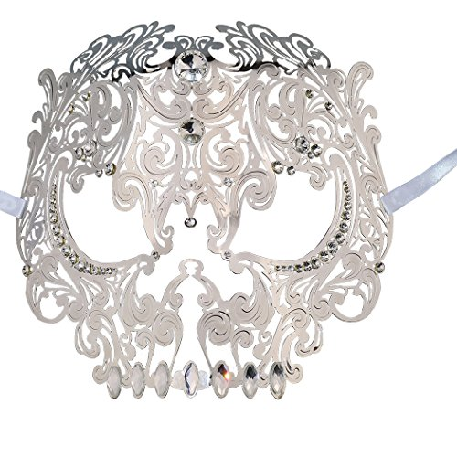 Coddsmz Skull Face Masquerade Masks Mardi Gras Party Mask with Rhinestones (Silver) -