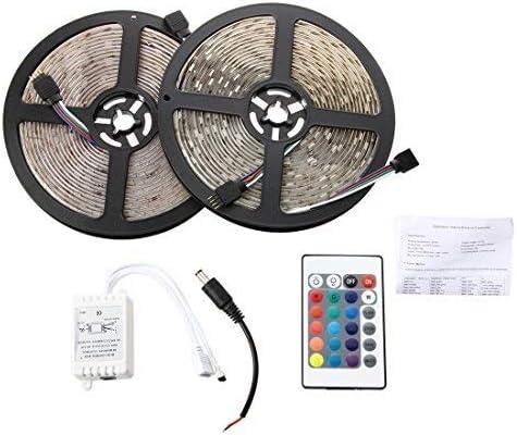 BZAHW Tira Flexible a Prueba de Agua 2x5M 10M 5050 SMD 300 RGB LED luz + 24 Teclas Controlador de Infrarrojos de Color.Jardín Ideal, iluminación de decoración del hogar: Amazon.es: Hogar