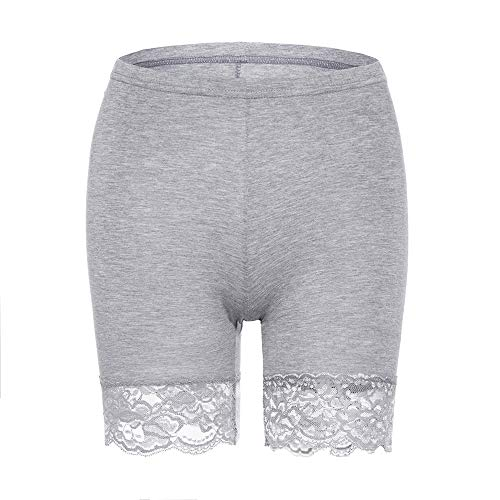 (MANCYFIT Slip Shorts for Women Short Leggings Mid Thigh Legging Plus Size Lace Undershorts Gray Small )