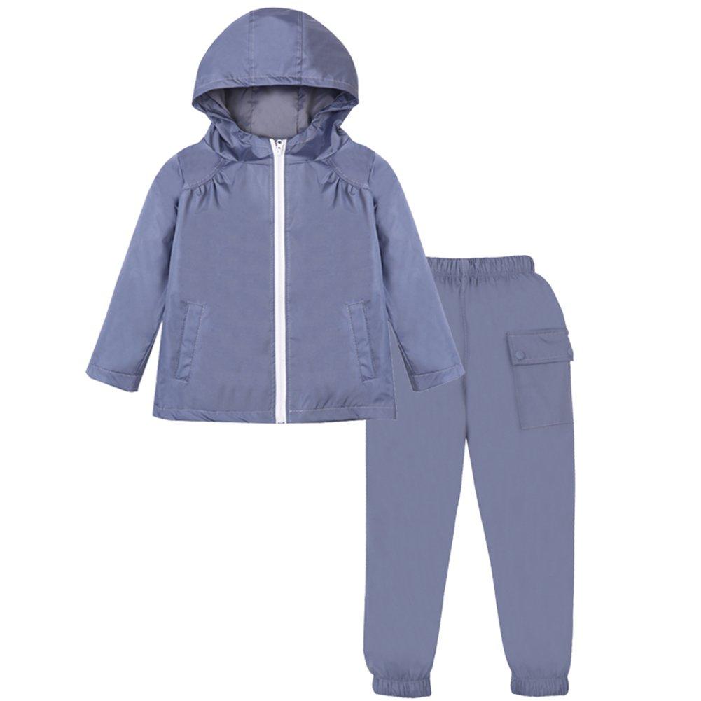 LZH Bambini Impermeabile Ragazzi Giacca con Cappuccio Dinosauro Cappotto + Pantaloni Set