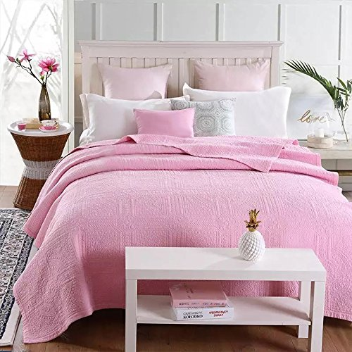 YaYi Cotton Quilt Pink Summer Comforter Quilted Breathable Blanket for Girls (80 inch x 90 inch) Solid Vibrant Coverlet Bedspreads Bedding Cover by YaYi