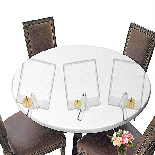 (Round Table in Washable Polyeste Blank Photos with Halloween Pumpkin and Ghost Banquet Wedding Party Restaurant Tablecloth up to 43.5