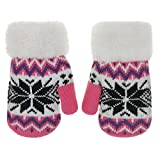 Toddler Kids Winter Warm Thick Full Finger Gloves Children Assorted Color Magic Ski Gloves Mittens (Rose Red Snowflake, For 5-12 Years)