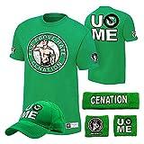 WWE Superstar Cotton Short Sleeved T-shirt , Cap , Sweatbands strong Wristbands 5/2 Piece Set Wrist RAW for Kids ,MEN (m, green3)