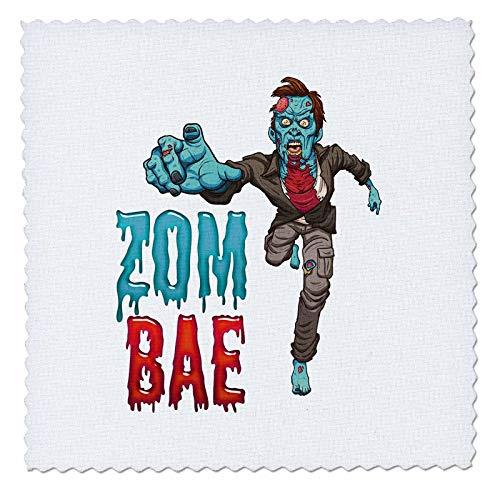 3dRose Carsten Reisinger - Illustrations - Zombae Man Funny Halloween Zombie - 22x22 inch Quilt Square (qs_294851_9) -