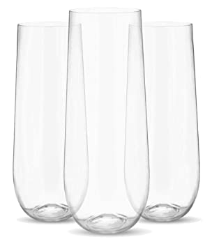 PRESTEE 9 oz Plastic Stemless Flute Champagne Glass