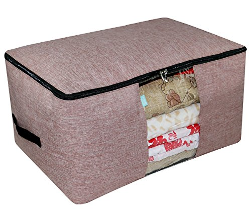 Household Storage Organizer Bag, Tidy Up your Closet, Sweaters, Comforters, Blankets, Sheet Sets Storage, Transparent Window, Double Side Zippers, Red