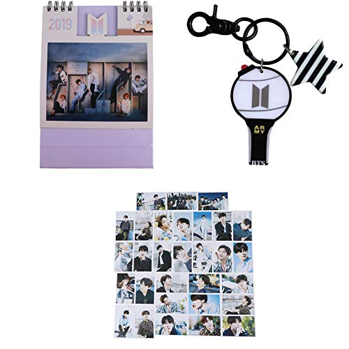 Price comparison product image Hosston Kpop BTS Gift Set, Bangtan Boys EXO GOT7 Wanna One 2019-2020 New Tabletop Calendar + 30 Pcs Lomo Card + 1 Pcs Keychain Best New Year Gift for Friends(Style 15-BTS)