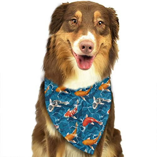 (LETI LISW Dog Bandanas Koi Carps Triangle Scarfs Washable and Reversible Triangle Cotton Pet Scarf for Puppy Cat Kitten and Other Animals )