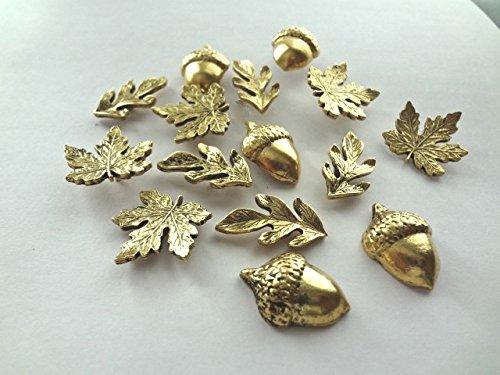 15 T322AG DECORATIVE ANTIQUE GOLD METAL LEAVES PUSH PINS