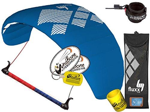 HQ HQ4 Fluxx 2.2M Trainer Kite TR Plus Safety Leash Bundle (5 Items) Includes Safety Wrist Leash System + WindBone Kite Lifestyle Decals + Key Chain + Koozie : Control Bar Foil Traction