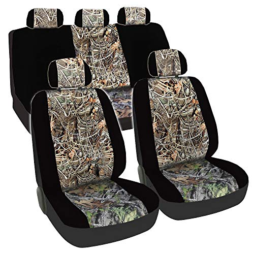 - CarsCover Real Black Camo Seat Covers Maple Forest Tree Leaf Pattern Camouflage for Auto Truck Car SUV Hunter Style Seat Cover (9pc Black Camo Low Back)