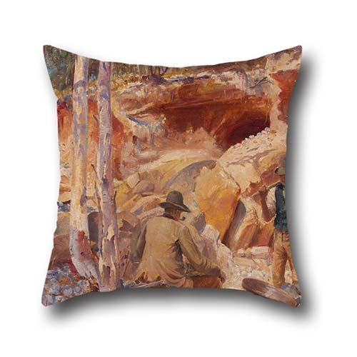 (Throw Pillow Case Of Oil Painting J. Miller Marshall - Fossicking For Gold,for Home Office,seat,kids Girls,him,chair,kitchen 16 X 16 Inch / 40 By 40 Cm(2 Sides))
