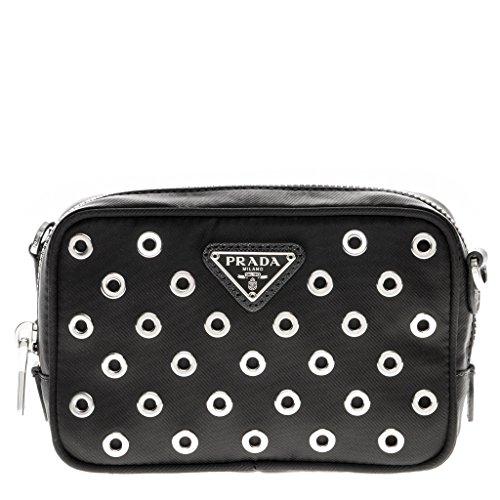Prada Women's Small Tessuta Vela Grommet Boxy Cosmetic Pouch Black