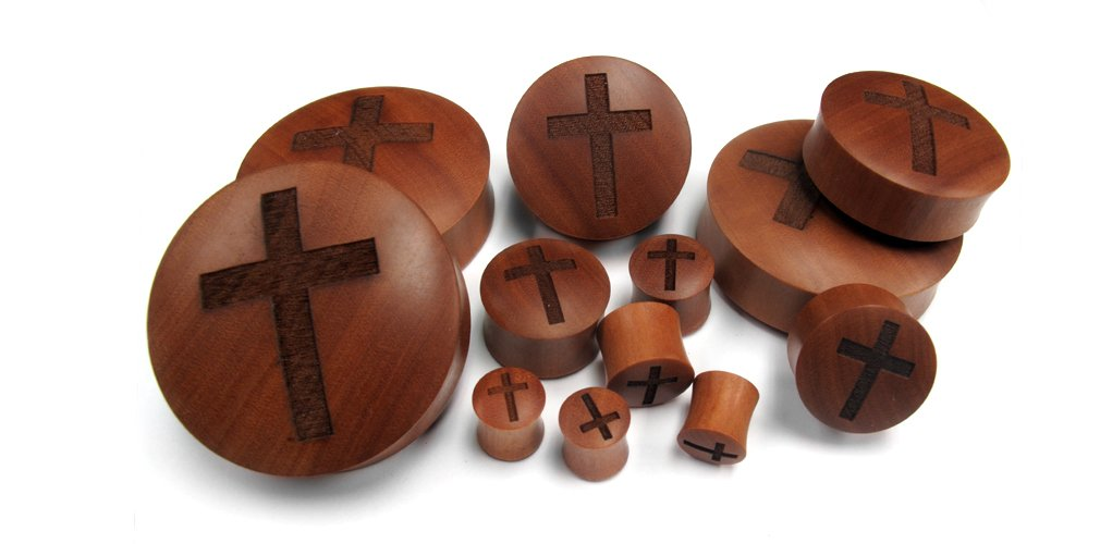 Urban Body Jewelry 1 Pair of 1 & 1/4 Inch (32mm) Engraved Cross Wood Plugs