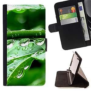 For Samsung Galaxy S6,S-type Gotas de cristal Agua- Dibujo PU billetera de cuero Funda Case Caso de la piel de la bolsa protectora