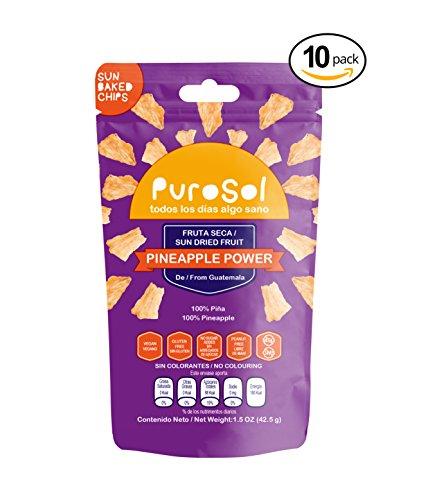 Sun Dried Pineapple Fruit Snacks   PuroSol Dried Pineapples (Pack of 10)   No Sugar Added, Tropical Fruit Snacks, Gluten Free, Vegan   1.5oz Healthy Snack Bags