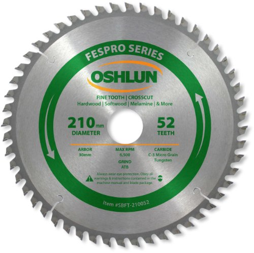 Oshlun SBFT-210052 210mm 52 Tooth FesPro Crosscut ATB Saw Blade with 30mm Arbor for Festool TS 75 EQ (Fine Cross Cut Thin Kerf)