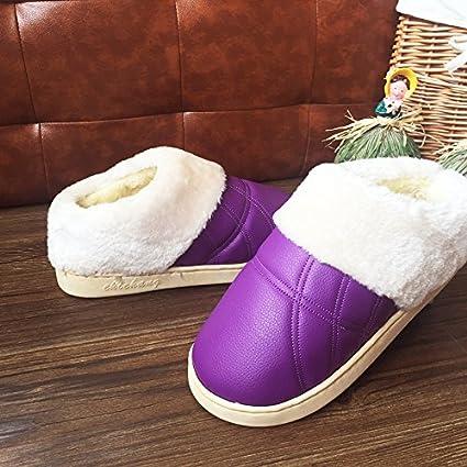 LaxBa Invierno patinar en zapatillas piel falsa nieve forrada caliente Zapatos para hombres púrpura 38/