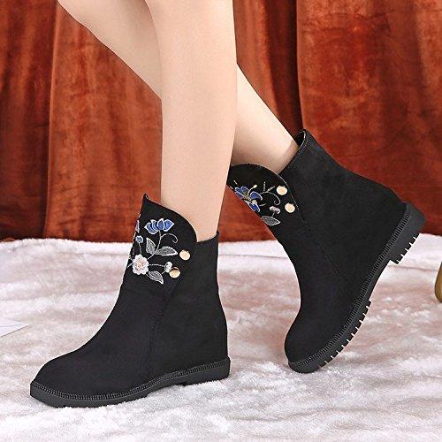 caoutchouc noir plat courtes hiver chaussures talon chaussures en bottes chaussures bottes rond nouvelles femmes pour plat manches KHSKX couleur tissu pour chaussures Martin en femmes intérieure p7048nqw