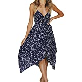 Cheap Scaling ❤ Women Dress,Women's Summer Sexy Dot Print Mini Dress Boho Irregular Skirt Casual Spaghetti Strap Dress Sundress (Navy, S)