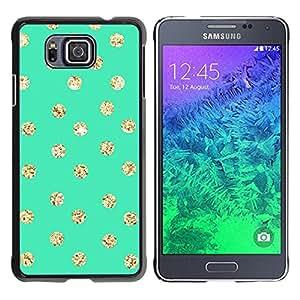 iKiki Tech / Estuche rígido - Dot Green Screen Gold Glitter Shiny - Samsung GALAXY ALPHA G850