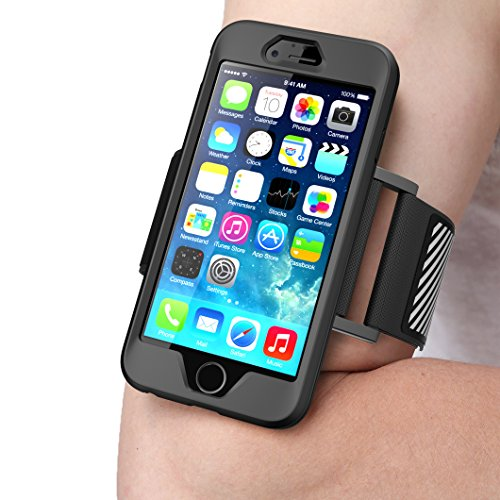 iPhone 6S Plus Armband , SUPCASE , SPORT RUNNING, Apple iPhone 6S Plus Armband 5.5 inch Easy Fitting Sport Running Armband with Premium Flexible Case Combo for iPhone 6 Plus Cover (Black) by SUPCASE
