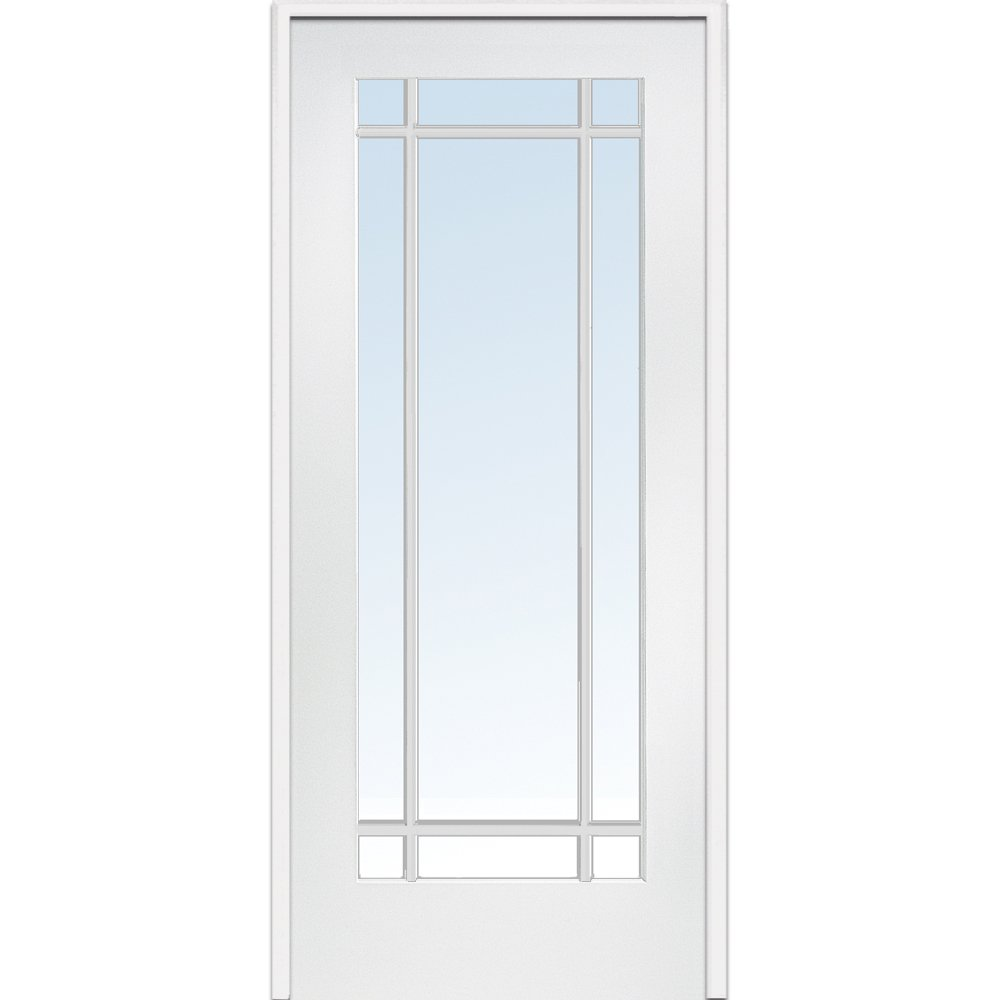 National Door Company Z009310L Primed MDF 9 Lite Clear Glass, Left Hand Prehung Interior Door, 30'' x 80''