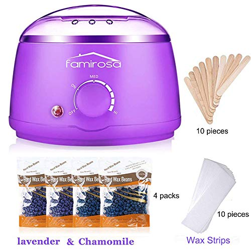 - Wax Warmer Hair Removal Kit, Famirosa Waxing Heater with Hard Wax Beans, 10 Wax Applicator Sticks and 10 wax Strips for Women Men Body Face Eyebrow